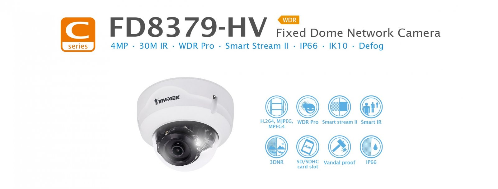 FD8379-HV. Vivotek Fixed Dome Network Camera