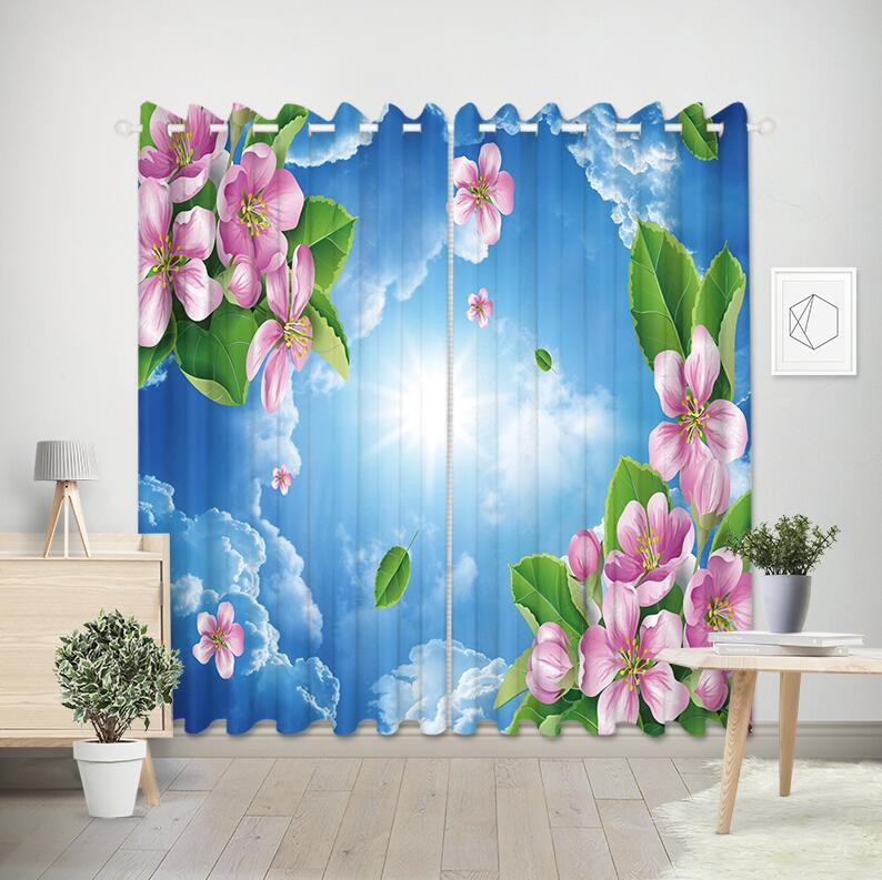 Flower design curtain