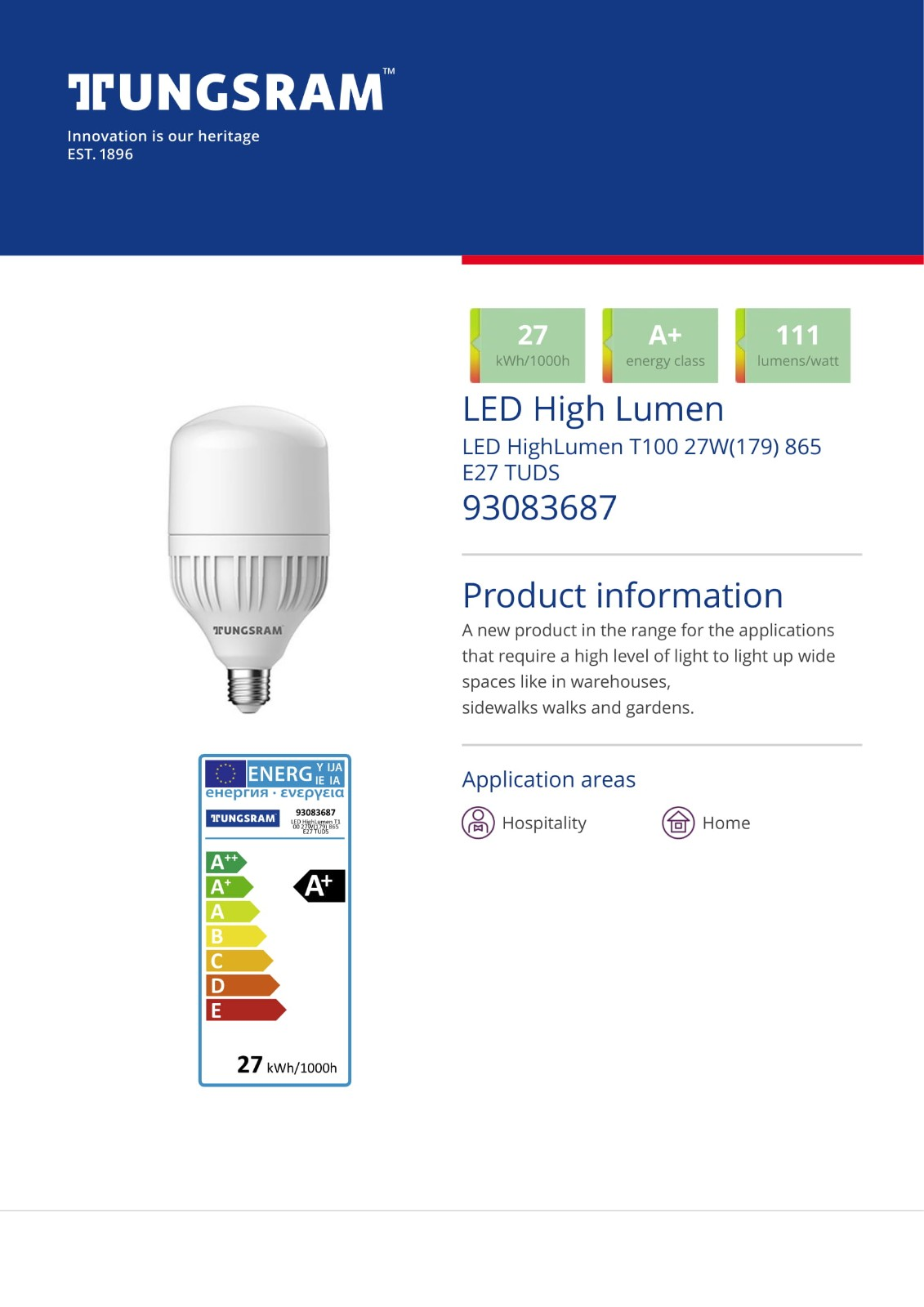 LED High Lumen T100 Bulbs