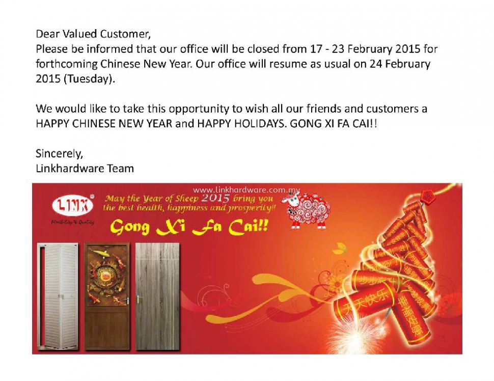 Our office will be closed from 17 - 23 February 2015.