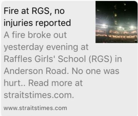 FIRE AT RAFFLES GIRLS' SCHOOL IN ANDERSON ROAD (19/10/16)