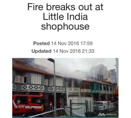 FIRE BREAKS OUT AT LITTLE INDIA (14/11/16)