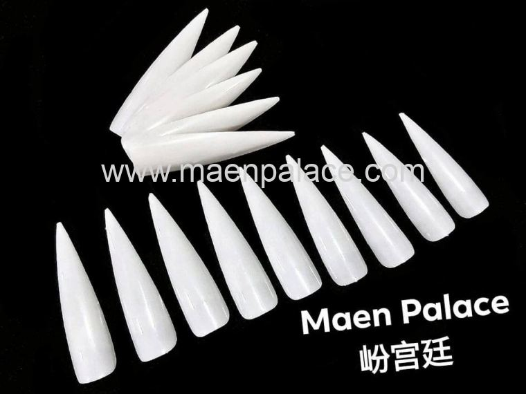 White Long Almond Shape Nail Tips White 1pack 36pcs 尖长型白