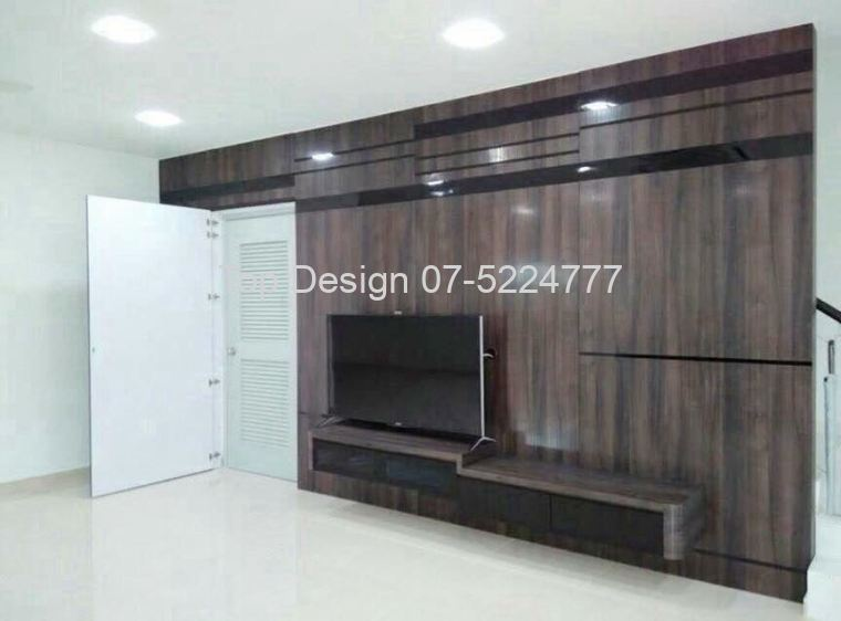 Staircase cum TV Feature Wall Design