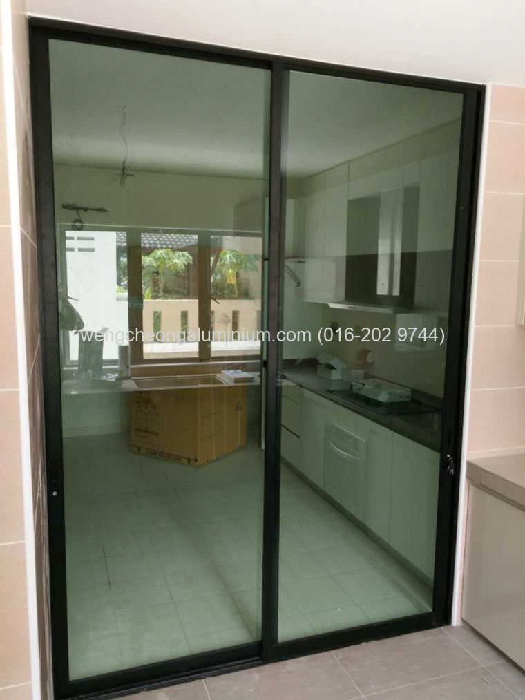 Aluminium Sliding Door (Light Green Glass)