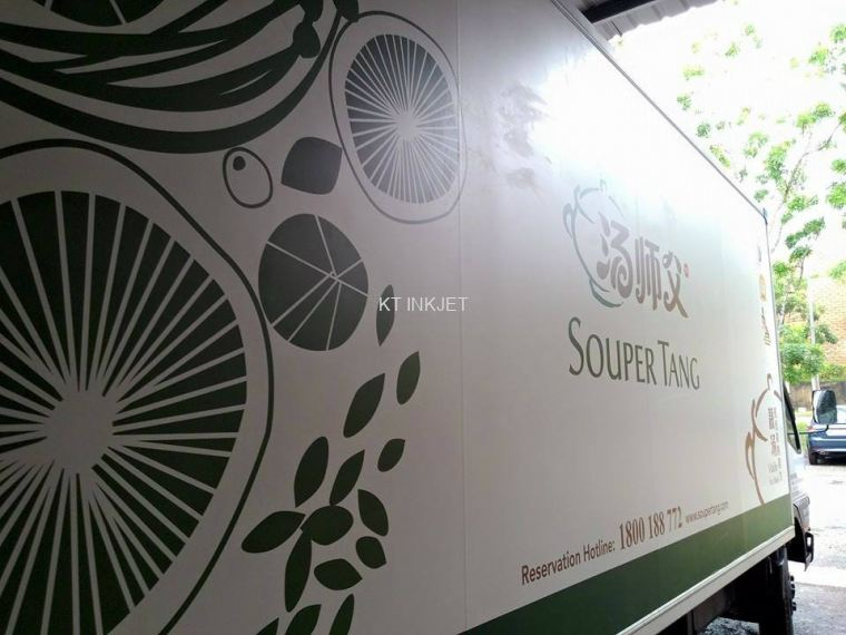 Printing white sticker lorry advertising
