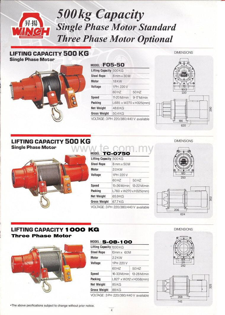 500 to 1000 Kg Electric winch