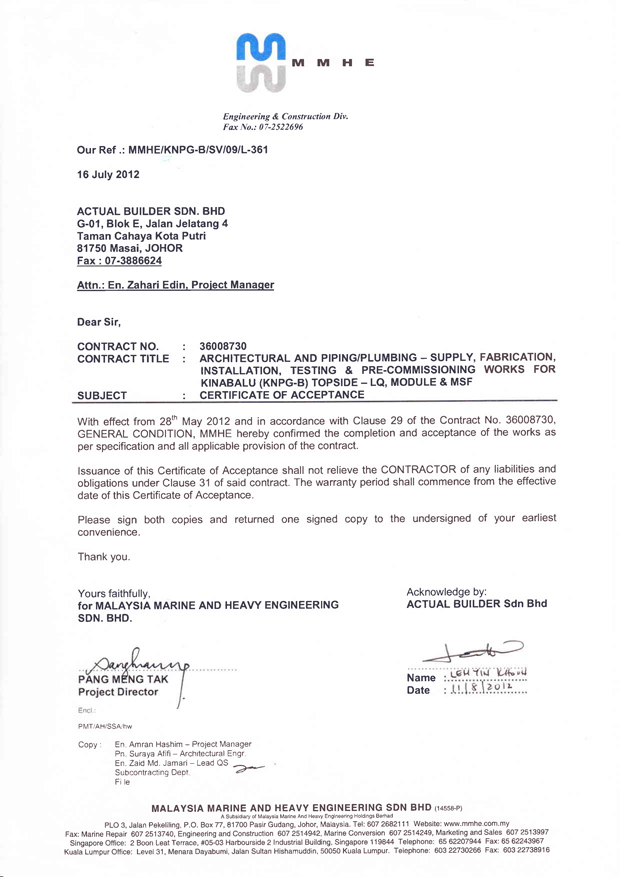 Certification of completion johor bahru jb johor masai west module for topsides lq b193 process platform natural gas corp ltd india plumbing architectural works yelopaper Choice Image