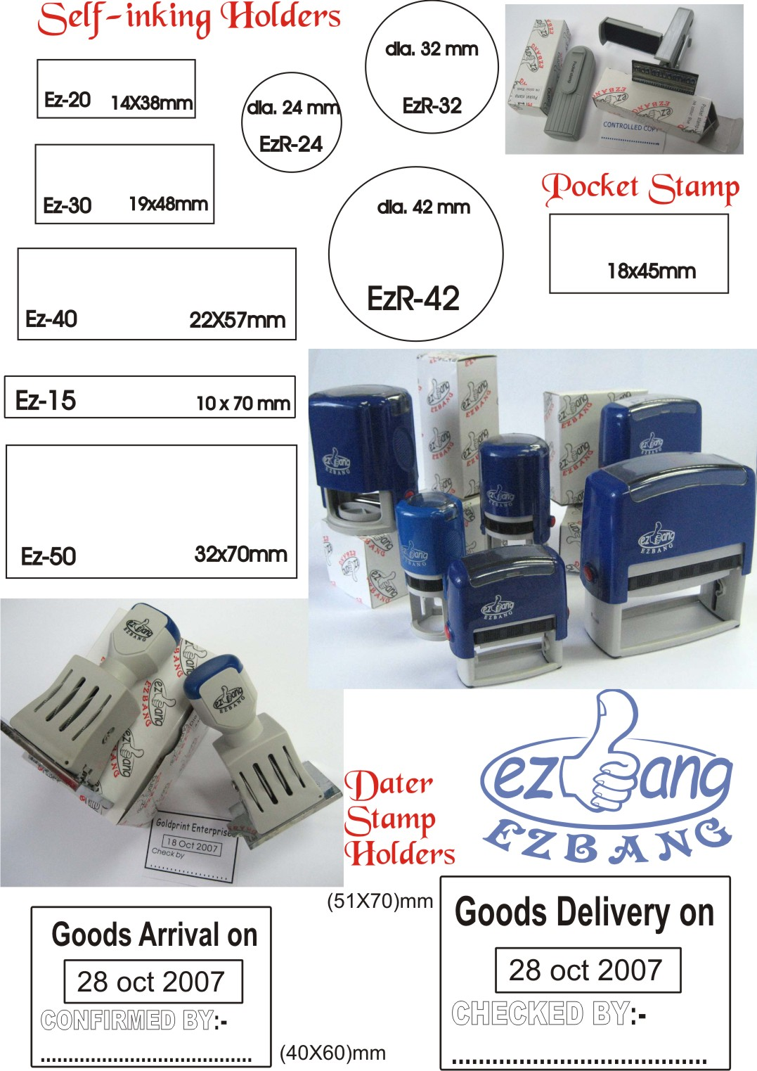 Self Inking Rubber Stamp Handles Size Chart