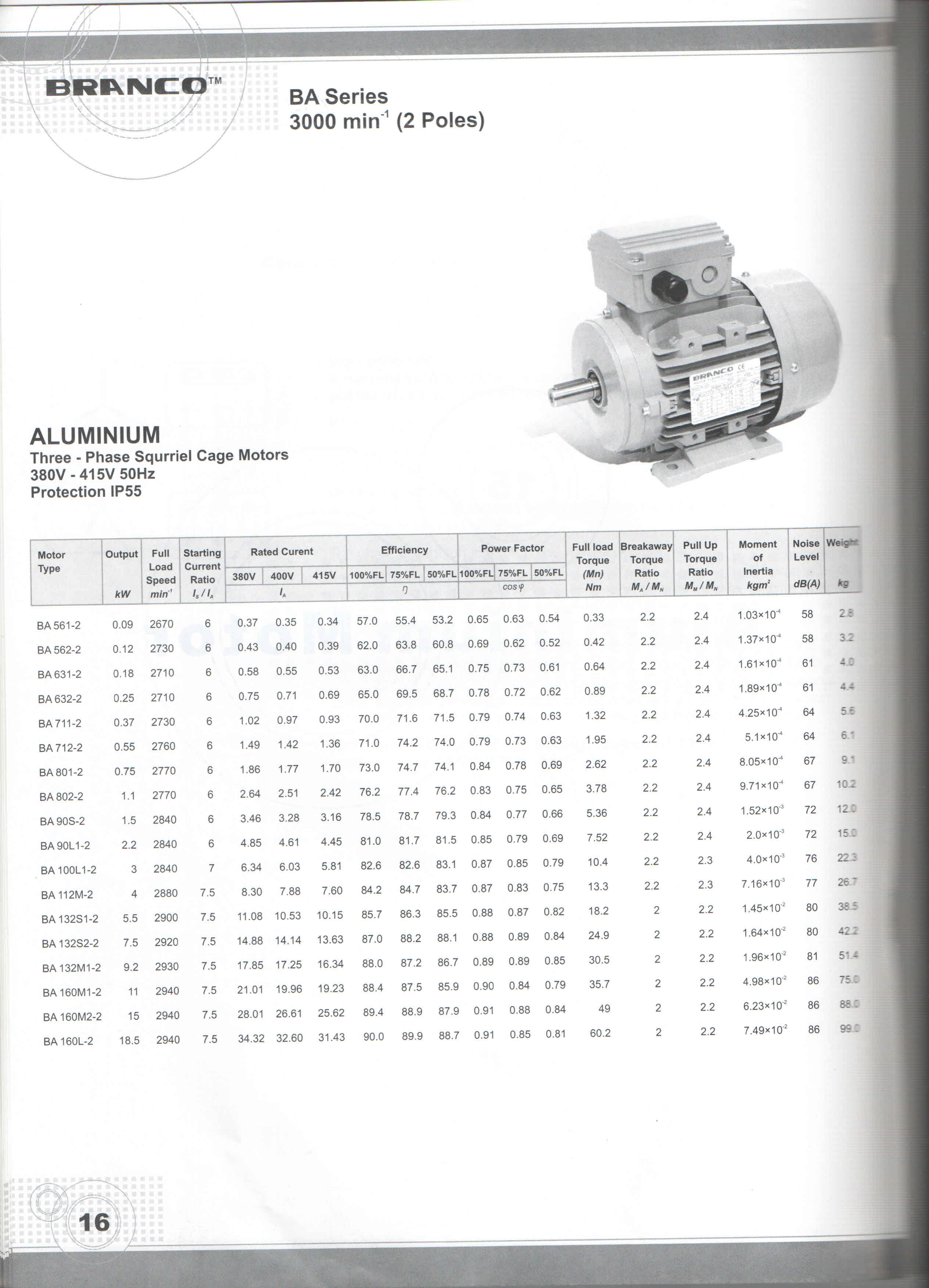 Branco Three Phase Ac Induction Motor Class F Insulation