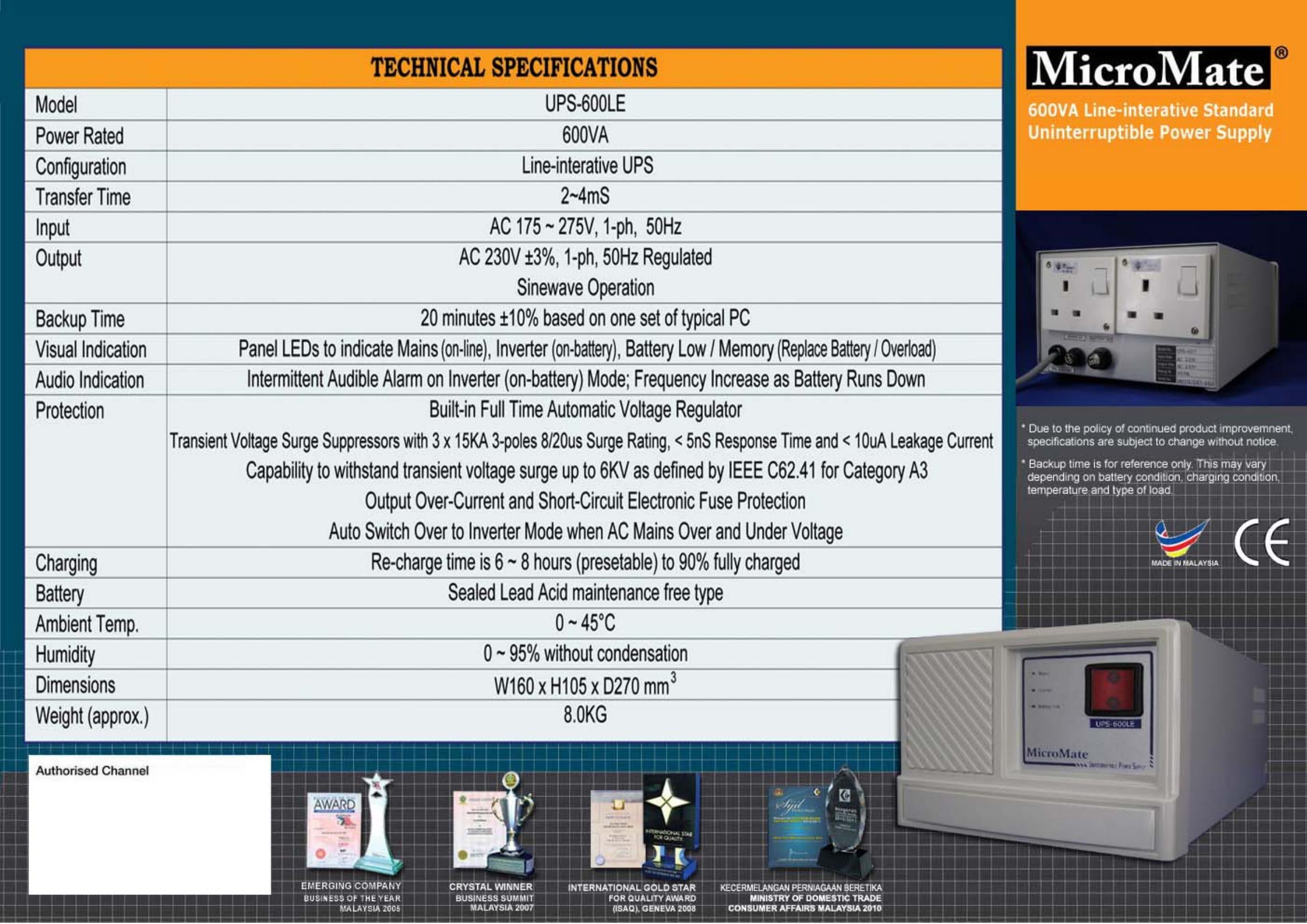Line Interative Ups Full Range Of Malaysia Kuala Lumpur Kl Backup Mate Battery Power Supply For Device Ac Dc Or 1 Phase 600va