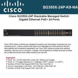 Cisco SG350X-24P-K9-UK: 24-port Gigabit POE Stackable Switch