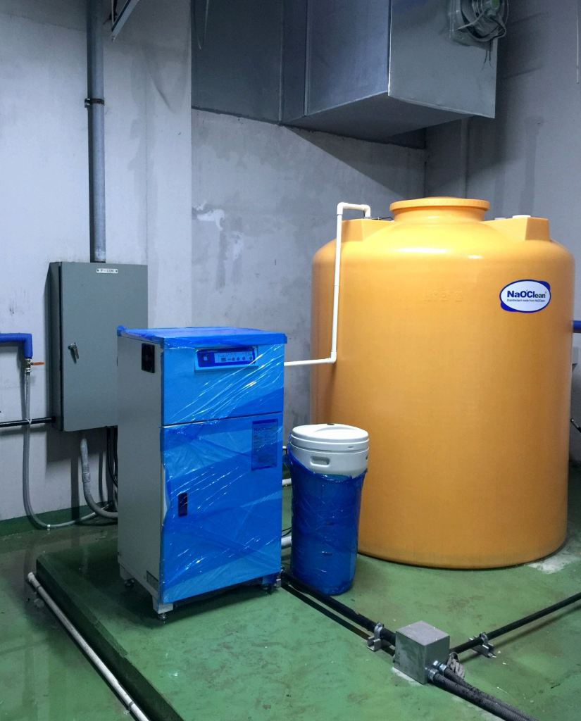 1. Location: Okay-Meat factory, Yongin, Korea 2.Product: Electrolyzed disinfectant generator NaOClean (Model : DES-16000 ) 3. Specification : 35~40L/ min (2.4t/hr) 4. Main ingredient : Sodium hypochlorite (100/200 ppm) 5. Using:Hygiene management in the facility, Sterilization of food materials, Deodorization of floor, drain, etc,
