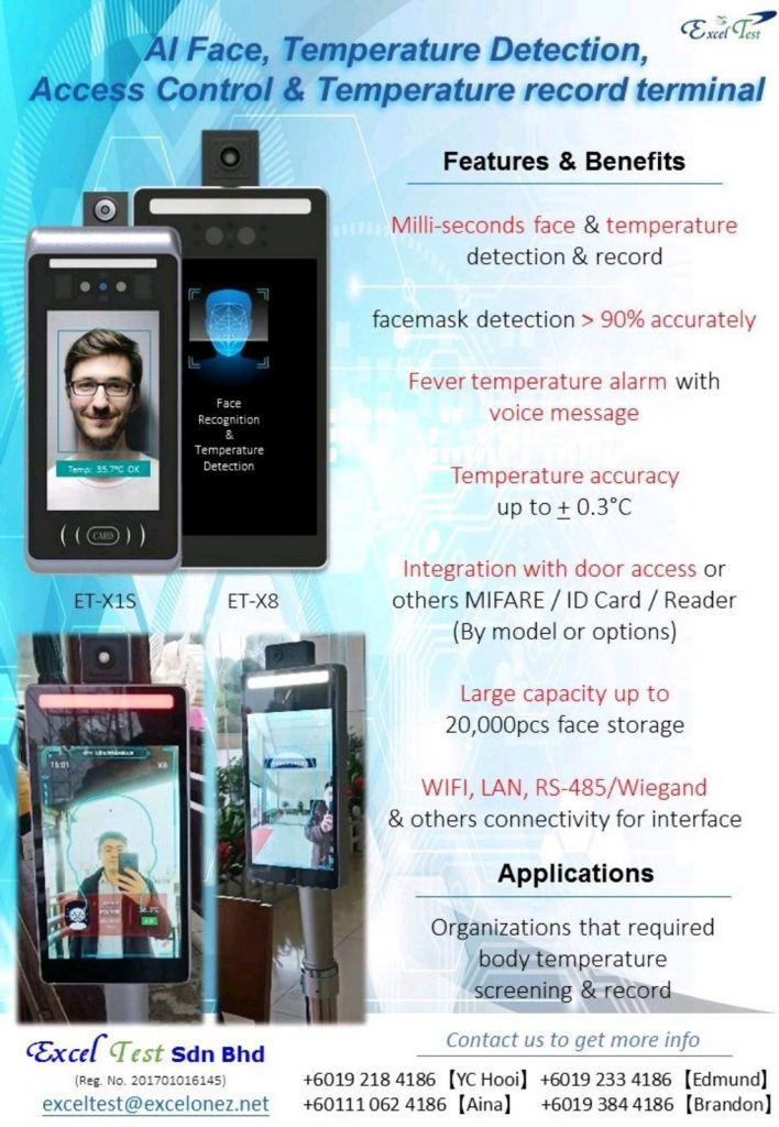 AI THERMAL CAMERA TEMPERATURE & FACE RECOGNITION RECORD TERMINAL