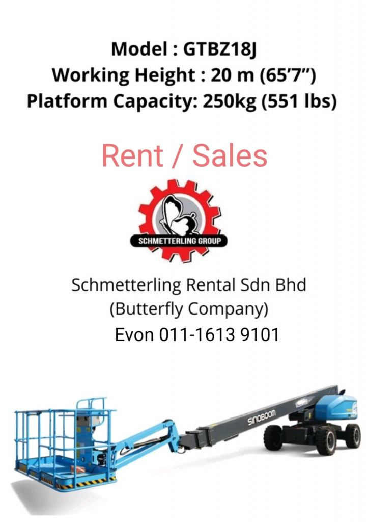 platform heights 18m, working height 20m boomlift