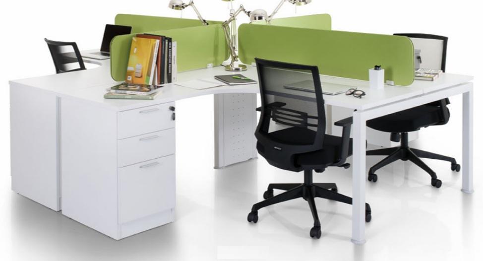 L shape workstation with frameless desking panel