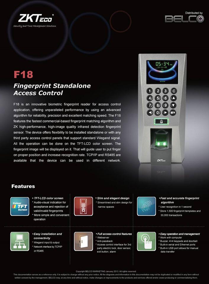 ZKT F18 Standalone FingerPrint Reader Attendance