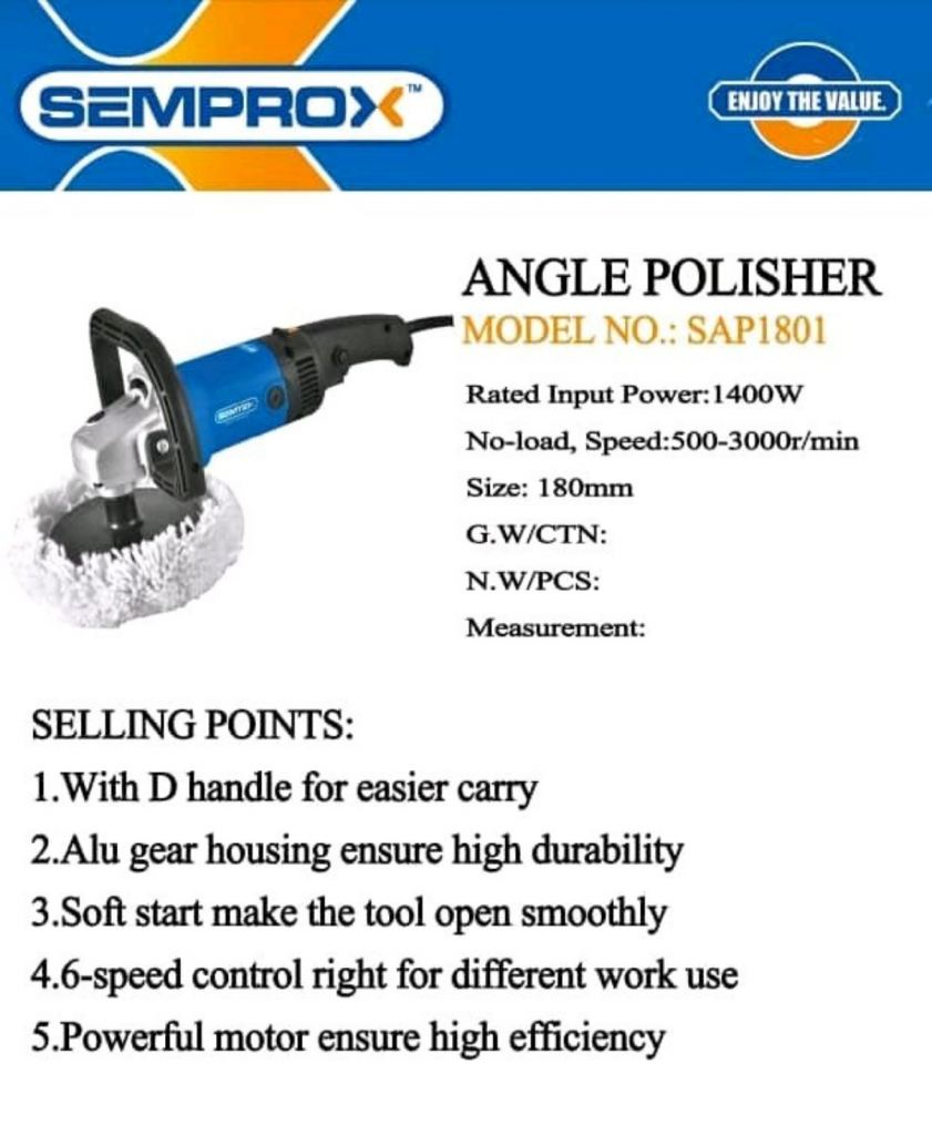 RM 499.99/2unit  Semprox Polisher SAP 1801 1400W/180MM Sepeed 500-3000r/min  ENJOY THE VALUE  MORE INFORMATION PLEASE CONTACT US WWW.WASAP.MY/60126868099  WWW.WASAP.MY/60126606788