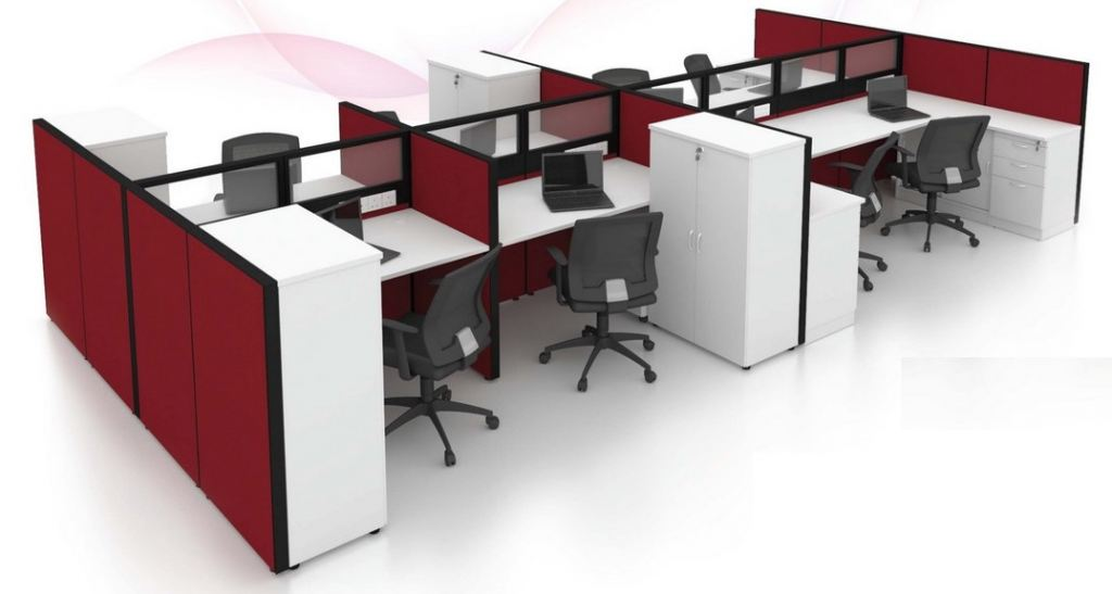 6 pax workstation with cabinets