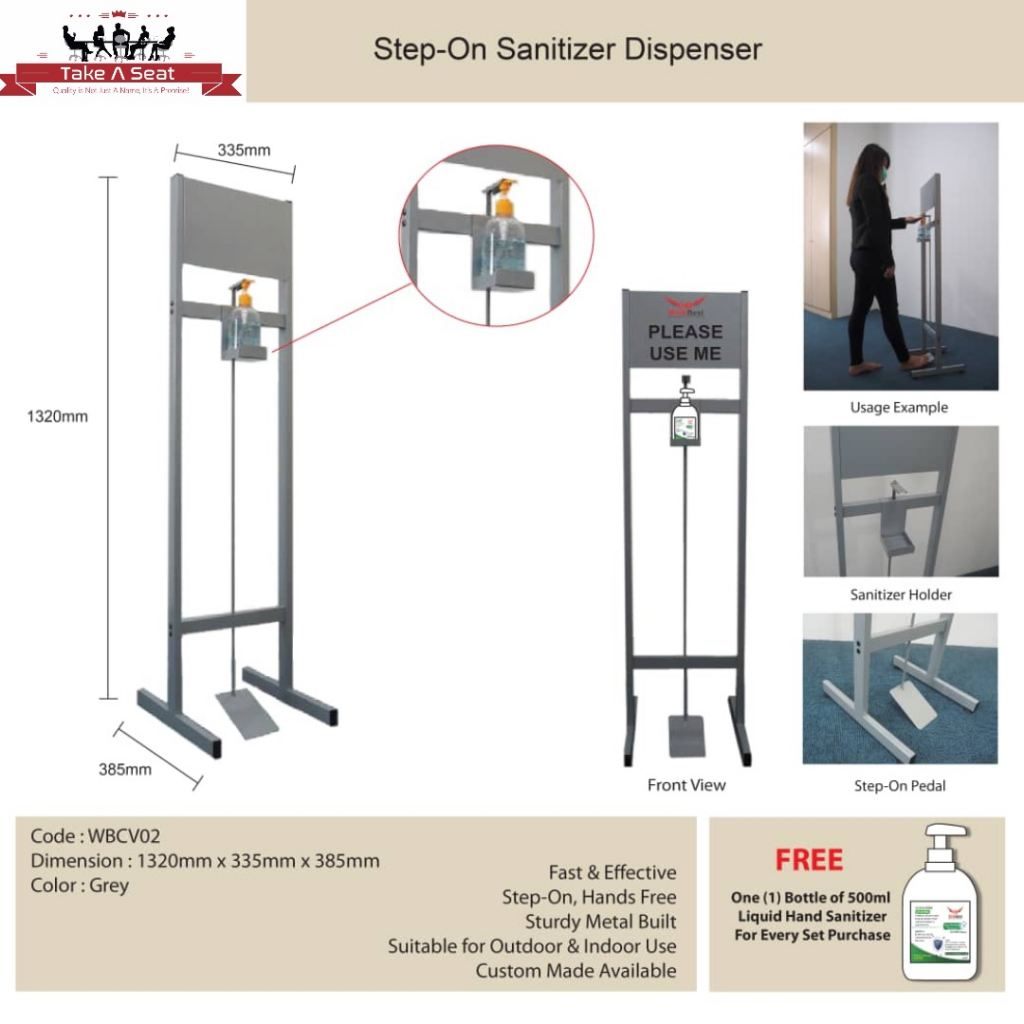 HANDS FREE SANITIZER DISPENSER STAND