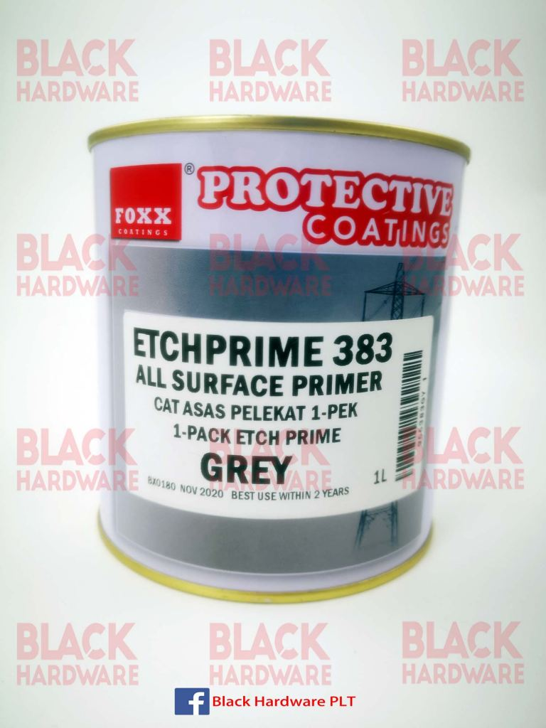 Fox 1L Grey Fiberglass Wood Cement All Surface Protect Coat Gloss Paint EtchPrime 383 Adhesive Primer Undercoat