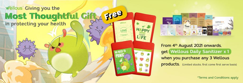 Purchase any 3 Wellous products & above FREE 1 Wellous fruity Sanitizer